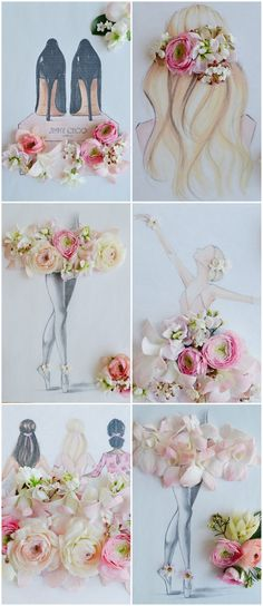 Ballerina Bride Wedding Sketches with real flowers Create the romance of a Ballet Bride: a ballerina wedding dress, ballerina hair style, candlelit tables, blush flowers + elegant gold decor - here's how! Ballerina Sketch, Ballerina Room, Ballerina Hair, Ballerina Illustration, Real Flowers, Paper Flowers, Blush Flowers, Cream Wedding Dresses, Diy And Crafts