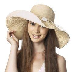 845e39be79365 Luxury Lane Women s Beige Floppy Sun Hat with Shell Trim