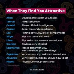 How the signs react around you if they find you attractive. #zodiac #zodiactraits #astrology