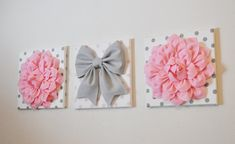 BLACK FRIDAY SALE Pink White & Gray Wall Decor by bedbuggs