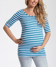 Look at this #zulilyfind! PinkBlush Teal & White Stripe Maternity Scoop Neck Top by PinkBlush Maternity #zulilyfinds