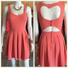 Fit and flare dress with heart shaped back cutout