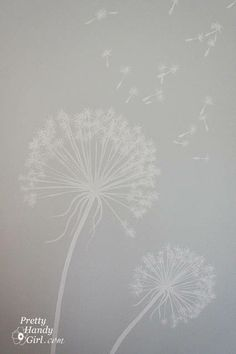 Painting dandelions on the wall of the bedroom. This website is filled with lots of great domestic DIY-tuts!