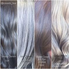 Silver Slay Collection  I love using these formuls and doing a creative overlay on top to make the end result really show through. #kenracolor @kenraprofessional #hairgoals #hairenvy #kreate #silverhair #behindthechair #modernsalon #americansalon #grannyhair #whitehair #steel #metallicobsession #hairgoals #mermaidhair #slay Kenra Hair Color, Matrix Hair Color, Grey Hair Over 50, Blonde Color, Ice Blonde, Blonde Hair, Hair Color Formulas, Silver Grey Hair, Hair Heaven