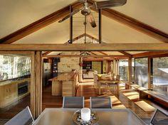 Open plan living - stone, wood & white