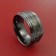 Black Zirconium Ring with Carbon Fiber Inlay Style Weave Pattern Black Polish, Precious Metals, Carbon Fiber, Wedding Bands, Weave, Rings For Men, Pattern, Gold, Jewelry