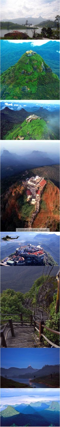 """Sri Pada or Adam's Peak: Lanka's Holy Mountain. Adam's Peak (also Samanalakanda - සමනළ කන්ද """"butterfly mountain"""", is a 2,243 metres (7,359 ft) tall conical mountain located in central Sri Lanka. It is well-known for the """"sacred footprint"""", a 1.8 m rock formation near the summit, in Buddhist tradition held to be the footprint of the Buddha, in Hindu tradition that of Shiva, in Christian tradition that of St. Thomas, and in Muslim tradition that of Adam."""