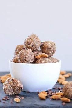Ketogenic Fat Balls (Paleo) - these fat bombs are made using nuts, seeds, coconut oil, and pure maple syrup for an easily customizeable healthy snack.