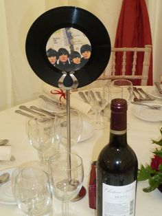 Good use for old records - Wedding table decorations