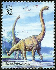 The neck of the large brachiosaurus could stretch to around 30 feet in length, perfect for feeding from high trees.    Copyright United States Postal Service. All rights reserved.