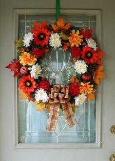 Large Floral Fall Wreath for Front Door, Farmhouse Wreath, Autumn Foliage Wreath, Thanksgiving Wreath, Sunflower Wreath, Fall Decoration Thanksgiving Wreaths, Autumn Wreaths, Thanksgiving Decorations, Wreath Fall, Autumn Decorations, Wreaths For Sale, Wreaths For Front Door, Door Wreaths, Wire Wreath Frame