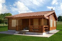 BUENDIA 64 M2, Casa de madera Rest House, House In The Woods, House Construction Plan, Prefab Cabins, Small Buildings, Cute House, Village Houses, Tiny House Plans, House Goals