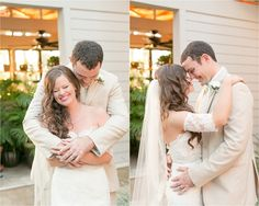 Bride and groom hugging and laughing  | Amy and Mikes Lakeside wedding | www.AmalieOrrangePhotography.com