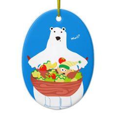Funny polar bear elf salad Christmas ornament - humor funny fun humour humorous gift idea
