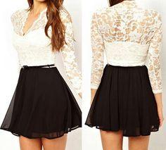Blusa de Encaje/falda color negro