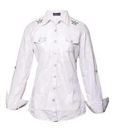 Take a look at this White Miss Results Button-Up - Women by Roar Clothing on #zulily today!