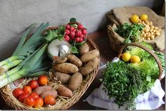outside my kitchen door you will always find baskets full of seasonal produce.