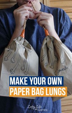 Cool human body activity for kids - Make your own paper bag lungs activity - Learn about the human body and see how the lungs work and the correct names for their anatomy. Human Body Lesson, Human Body Science, Human Body Activities, Human Body Unit, Human Body Systems, Health Activities, Science Activities For Kids, Science Education, Science Projects