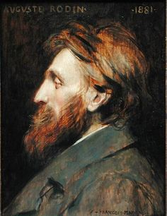 Francois Flameng  (French, 1856-1923) : Portrait of Auguste Rodin, 1881. Oil on panel. Musée de Petit- Palais, Paris.