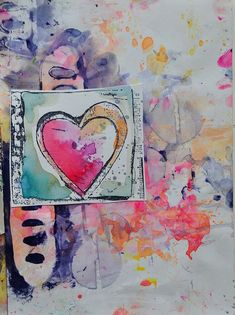 Heart, splash effect with warm colors. Pink, blue and orange art journal page. Applying final layers on an art journal page. - Dina Wakley