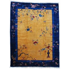 Vintage Art Deco Mandarin Chinese Oriental Rug | From a unique collection of antique and modern chinese and east asian rugs at https://www.1stdibs.com/furniture/rugs-carpets/chinese-rugs/