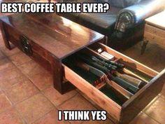 Reclaimed wood gun locker coffee table. Genius!