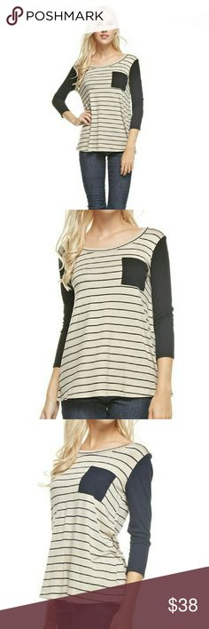 NEW ARRIVAL🎉SOFT Striped Top w/Ribbed Contrast 3/4 raglan, rib sleeve, striped, super soft casual top with rib front pocket and sleeves.  Wear with you favorite jeans or the navy leggings available in a separate listing.   Color: Oatmeal/Navy  True to size.  Small (2/4) Medium (6/8) Large (10/12)   Wearing size Medium in last picture. boutique Tops Tunics