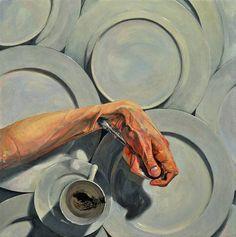 Paul X. Rutz Coffee Dregs, Spoon Grip oil on canvas 18″ x 18″