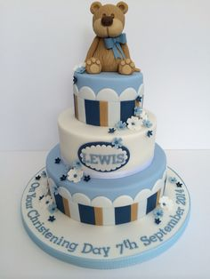 Cute baby boy christening cake Teddy Stripes