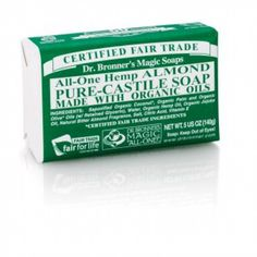 Dr Bronner's Almond Organic Bar Soap Nothing brings the warmth and cosiness of home and hearth into your shower like our heavenly almond scent. Organic Bar Soap, Organic Coconut Oil, Pure Castile Soap, Almond Bars, Hemp Oil, Sprays, Biodegradable Products, Shampoo, Pure Products