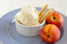 A flavorful ice cream that has just enough peach flavors with a touch of cinnamon to make a waffle cone or pie topping an excellent dessert option. Pie Tops, Waffle Cones, Just Cakes, Frozen Treats, Dessert Bars, Parfait, Yogurt, Smoothie, Cinnamon