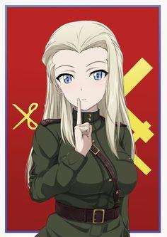 1girl blonde_hair blue_eyes clara_(girls_und_panzer) finger_to_mouth girls_und_panzer inoshira long_hair looking_at_viewer military military_uniform scissors shushing solo uniform upper_body