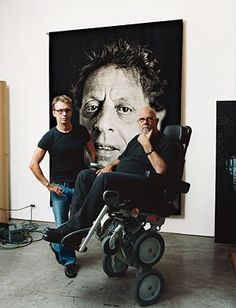 Jorma Elo (left) and Chuck Close at Close's studio. In the background, Philip Glass State II, 2005, tapestry.