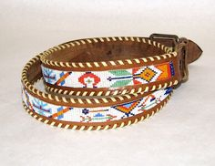 Vintage Leather & Peyote Bead Native American Tribal Whip-stitched Belt