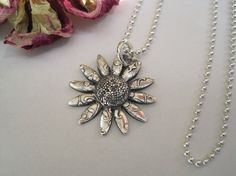 Silver Daisy Flower Necklace on Etsy, $32.00
