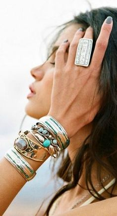 chunky bracelets and rings