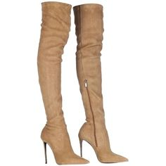 Pre-owned Roberto Cavalli Leather Over The Knee Stretch Thigh High... ($608) ❤ liked on Polyvore featuring shoes, boots, heels, camel, thigh high boots, over the knee leather boots, over the knee stretch boots, thigh high leather boots and over the knee heel boots