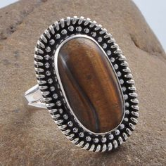 EXCLUSIVE 925 STERLING SILVER YELLOW TIGER EYE LADIS RING R01271 SIZE 9 #Handmade #RING