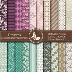 Dreams Mega  This listing is for 20 printable High Quality Digital papers.    Each paper measures 12 x 12 inch, 300 DPI, JPEG format.    Great for scrapbooking, making cards, invitations, tags and photographers.