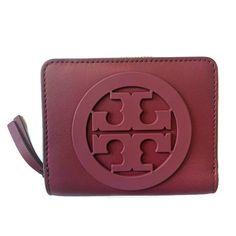 45527247d63d Details about Tory Burch Charlie Mini Bi-fold Wallet ~ Imperial Garnet Red  Burgundy ~ NWT  168