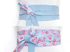 Light Blue Obi, Cotton + Silk, Haute Couture & Japanese Fabrics, Blue Waist belt, Sakura flowers cherry blossom red pink Wrap wide kimono