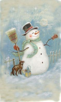 Lovely 100% Hand-painted Smile Snowman with Fox Snowman Oil ...: