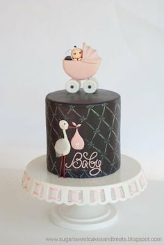 "Gray and Pink Baby Shower Cake - 6 inch round double barrel. Gumpaste stroller, covered and decorated in MMF, hand painted ""chalk"" design along the sides of the cake. I also made 3 dozen cupcakes to match it. Sweet Cakes, Cute Cakes, Pretty Cakes, Beautiful Cakes, Amazing Cakes, Torta Baby Shower, Fiesta Baby Shower, Fancy Cakes, Mini Cakes"