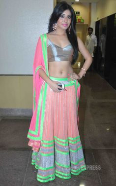 Kritika Kamra showed off her toned body in a multi-coloured lehenga choli at the WE WISH YOU PEACE Fashion Show - Outfit #desi #indian #fashion #pakistani #southasian #wedding #Bollywood #Fashion #Style #Beauty