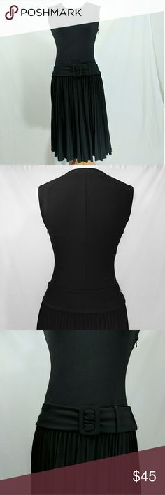 Calvin Klein PleatedDrop-Waist Flapper-Style Dress Like new Flapper-Style Dress with a belted drop waist and pleated full skirt.  Jersey Knit fabric.  Form fitting bodice and relaxed full pleated skirt.  Side zip. Calvin Klein Dresses Midi