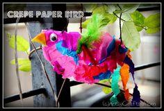 {Sqwak!} Crepe Paper Bird... #CampSunnyPatch