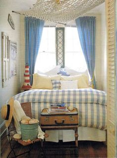 a tiny cottage bedroom with style - sure would hate to have to make that bed! Beach Cottage Style, Beach Cottage Decor, Coastal Cottage, Cottage Chic, Coastal Living, Cottage Ideas, Cottages By The Sea, Beach Cottages, French Country Living Room