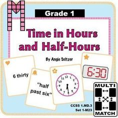 """This set of 36 printable Multi-Match game cards will help students learn to tell time in hours and half-hours (CCSS 1.MD.3). The """"1M"""" in the title stands for Grade 1, measurement domain. Dozens of other primary math card sets are available to use for matching activities. ~by Angie Seltzer"""