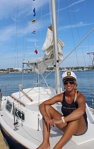 Captain Alexandra | Ali was raised on the West Coast, and now spends her summers teaching sailing in Montauk and her winters teaching in the Caribbean. Ali is a US Coast Guard captain, certified in first aid and CPR. Sailing Lessons, Us Coast Guard, Light House, West Coast, Caribbean, Bikinis, Swimwear, Ali, Teaching