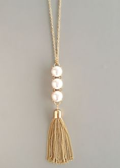 Triple Pearls Tassel Necklace. Could work with other small beads too